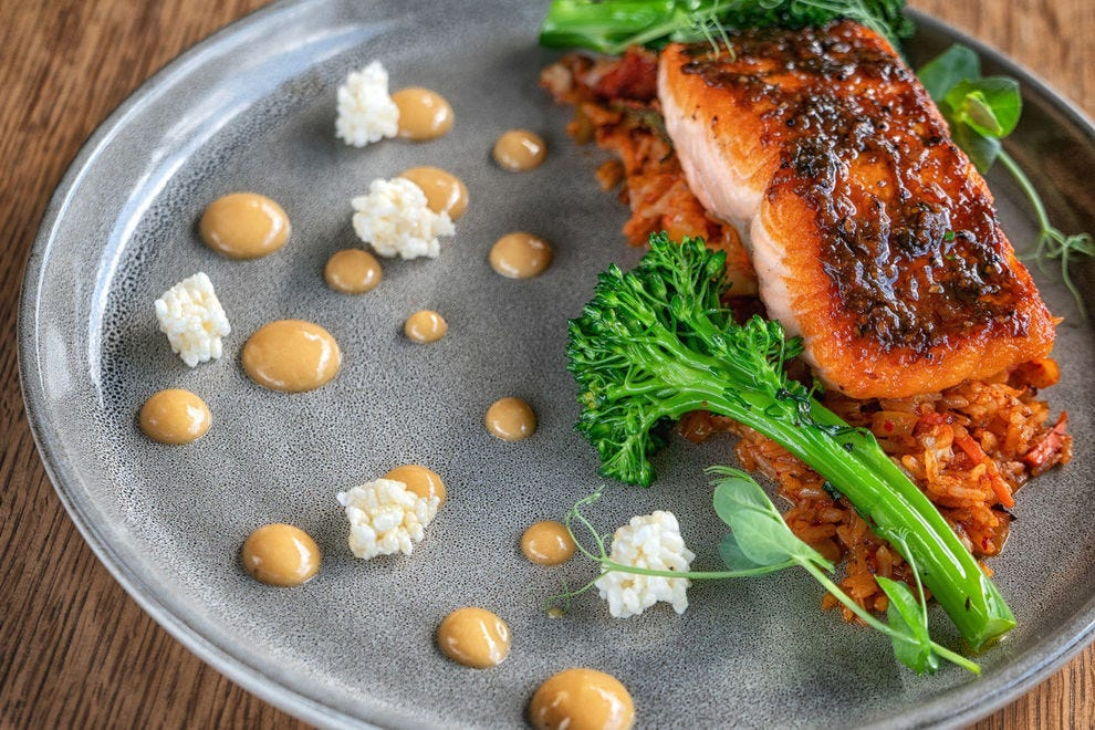 At the Delta Hotels Grand Okanagan Resort, enjoy dishes like the roast salmon