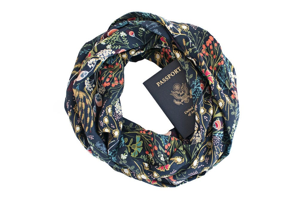 Speakeasy Secret Pocket Travel Scarf has a hidden compartment