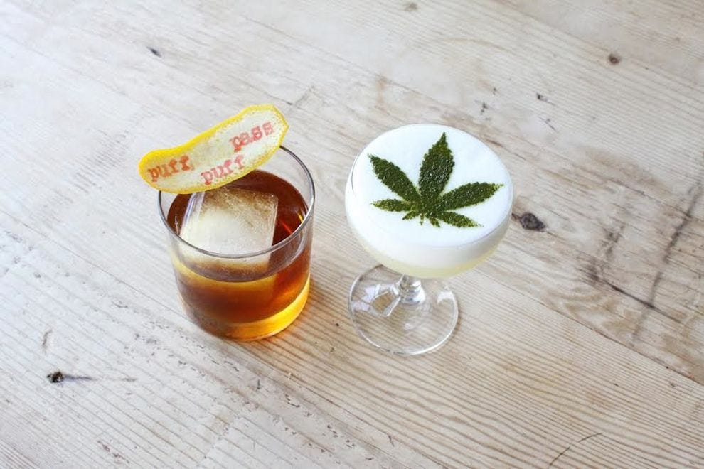 Two of the cannabis cocktails on the menu at Gracias Madre