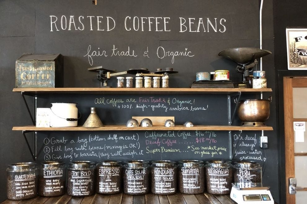 Merchants of Green Coffee in Toronto has a full menu of freshly roasted coffees.