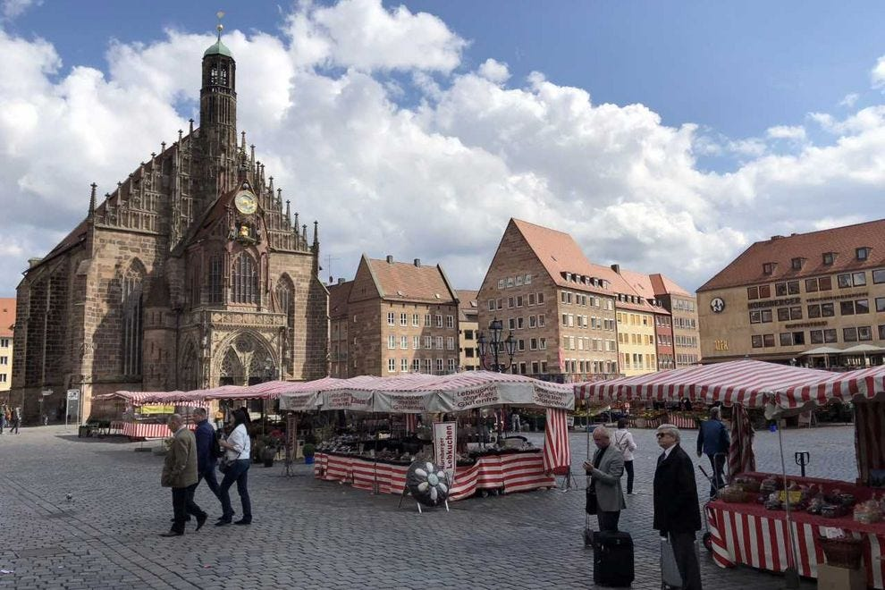 The Nürnberg Hauptmarkt, or the main square, has been a place for buying and selling goods since the medieval ages.