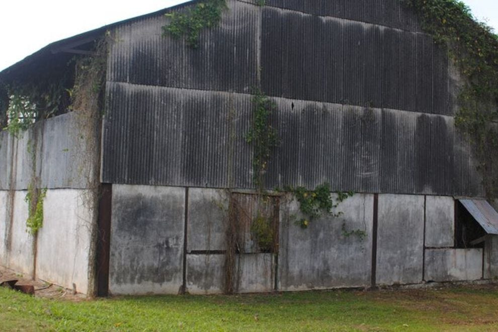 Boarded-up Caroni distillery