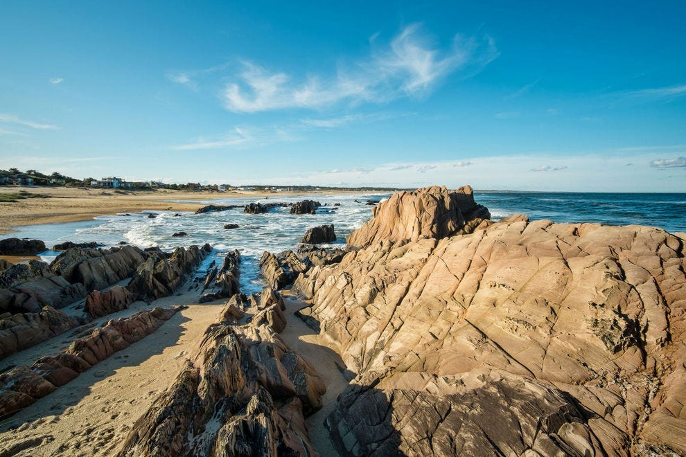 Large rock formations on La Pedrera landmark beach, Uruguay, South America