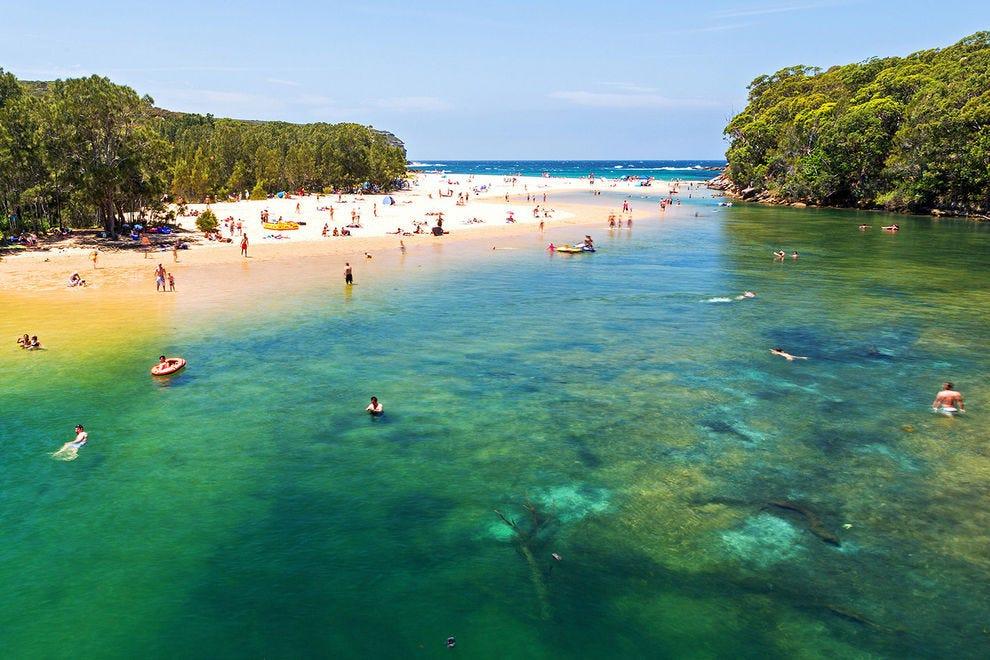 Locals and visitors enjoy swimming at Wattamolla, Royal National Park Sydney
