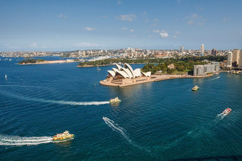 Scenic Sydney Harbour views include the iconic Opera House