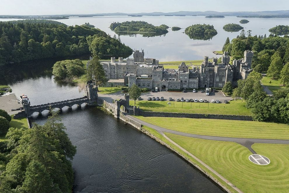 Bird's-eye view of Ashford Castle