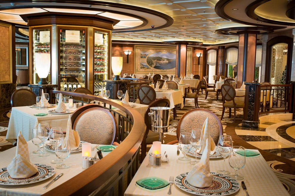 "<em>Royal Princess</em> offers a traditional dining room, three specialty restaurants and several casual eateries""><span class="