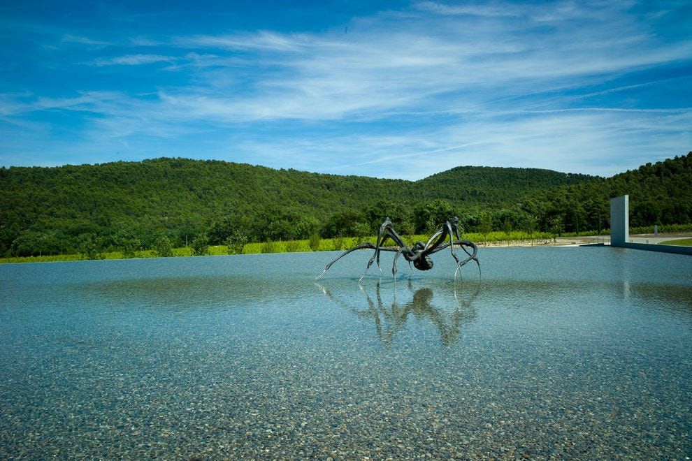"Louise Bourgeois's ""Crouching Spider"" looks out over the Château La Coste vineyards"