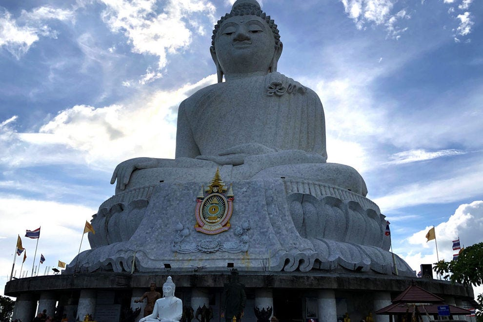 From a distance, the Big Buddha looks like a white speck on the top of the Nakkerd Hills, but up close, this statue is massive