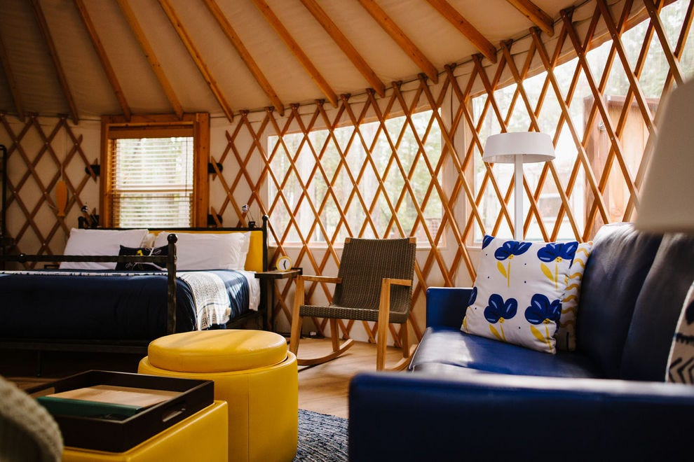 Lakedale Resort welcomes travelers to its warm and inviting yurts in the middle of a wooded oasis