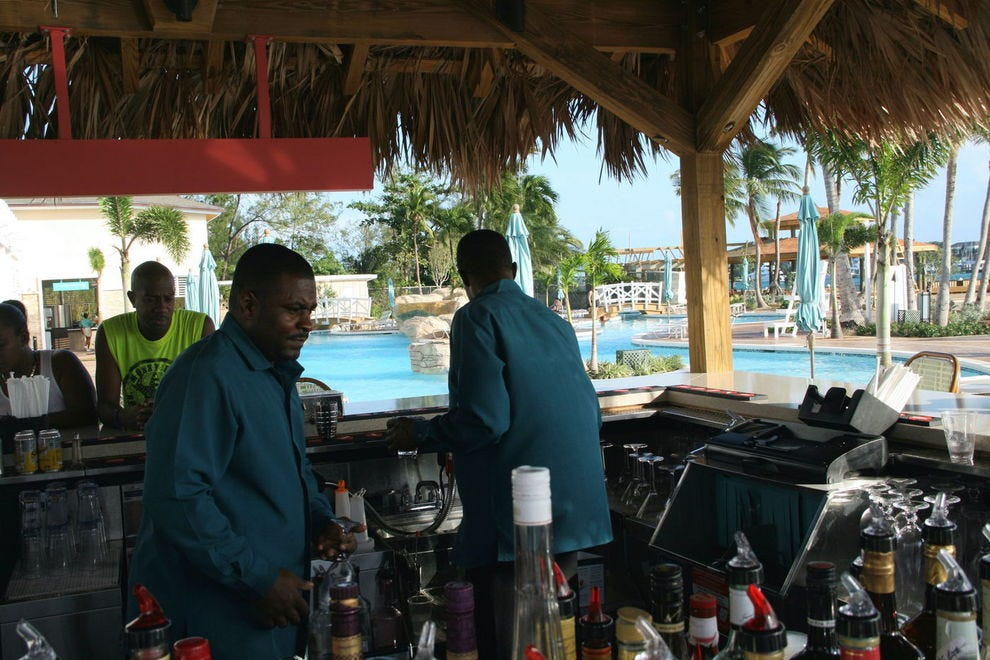 The lively pool bar at Warwick Paradise Island