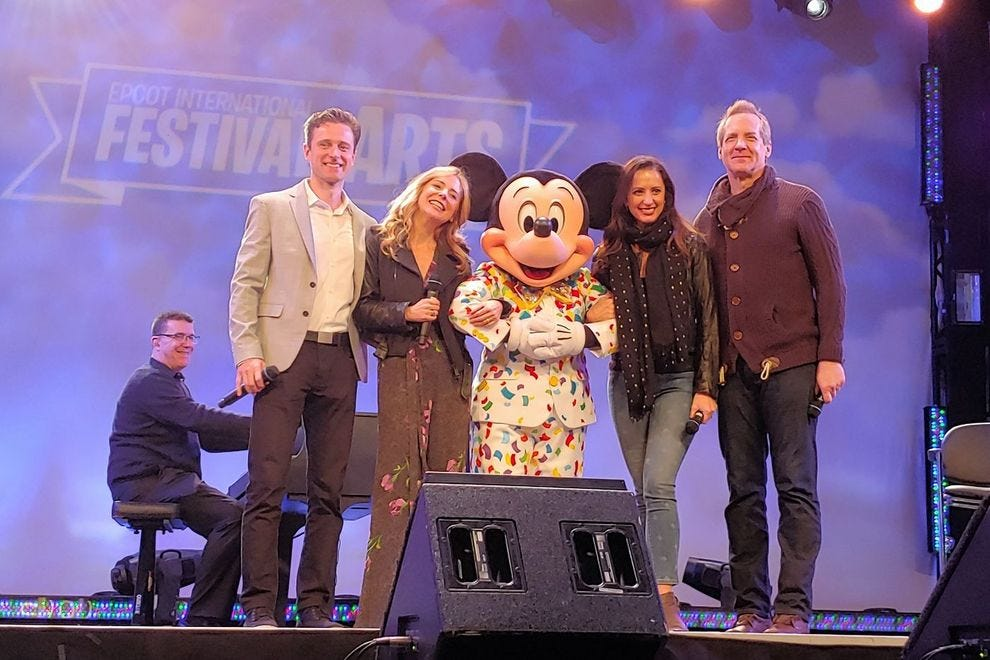 Broadway performers Kevin Massey, Kerry Butler, Steve Blanchard & Meredith Inglesby strike a pre-festival pose with Mickey