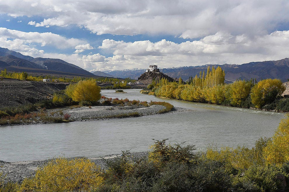 Stakna Monastery and the Indus River in autumn