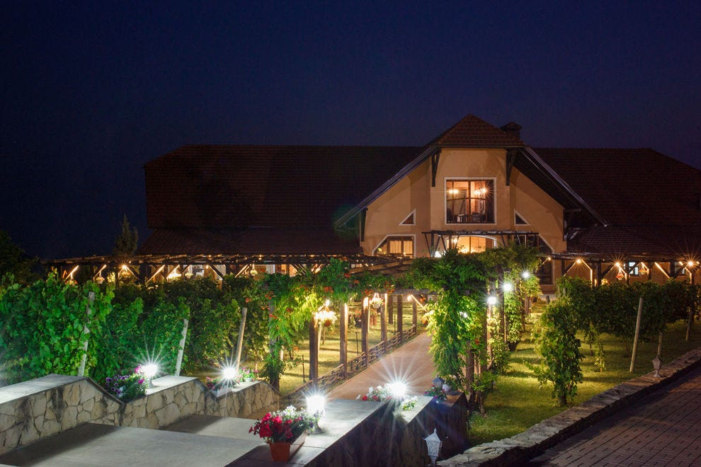 The beautiful winery lit up at night