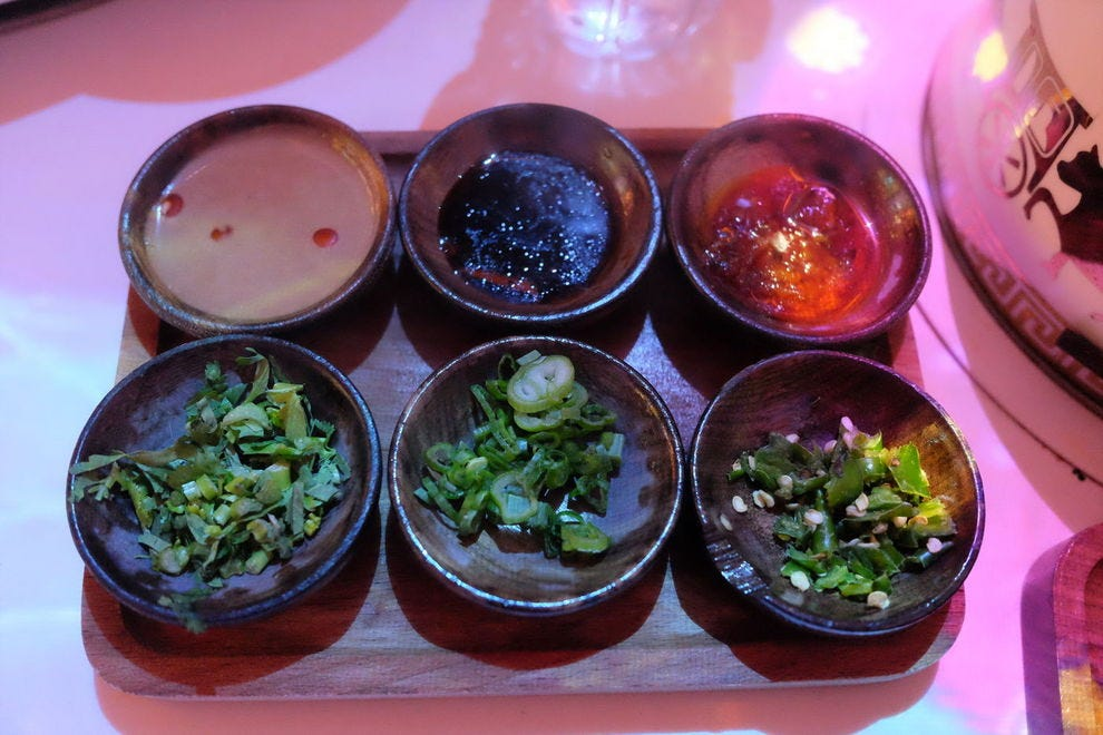 House-made sauces are a signature here and complement each bite