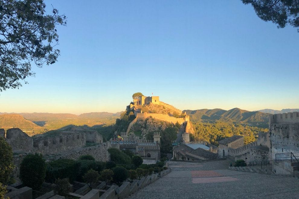 Xàtiva Castle catches the sunlight
