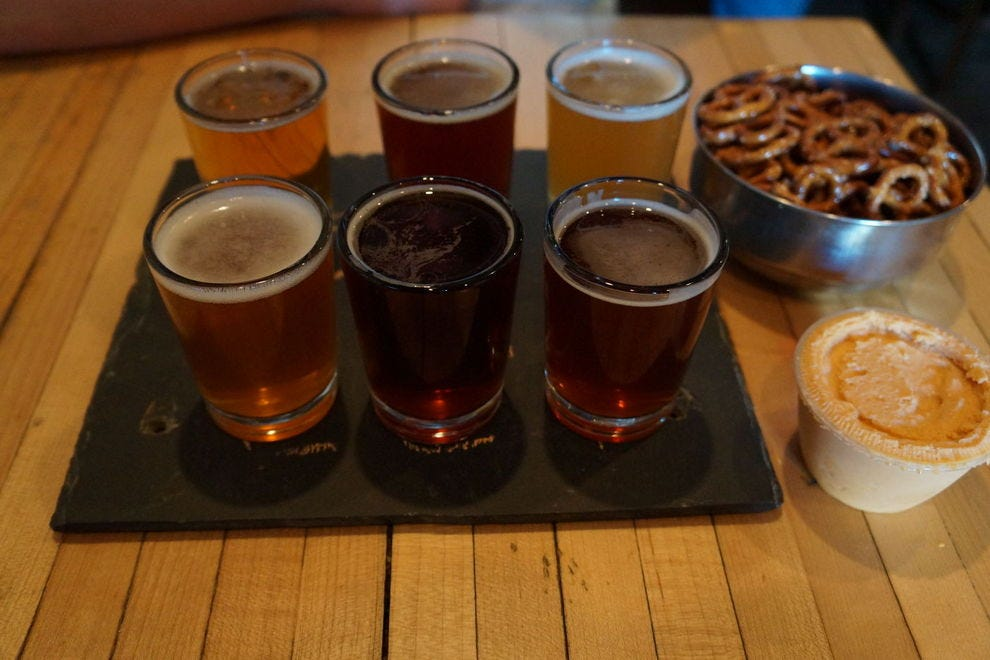 Sample a few of Beer Engine's beers and beer cheeses