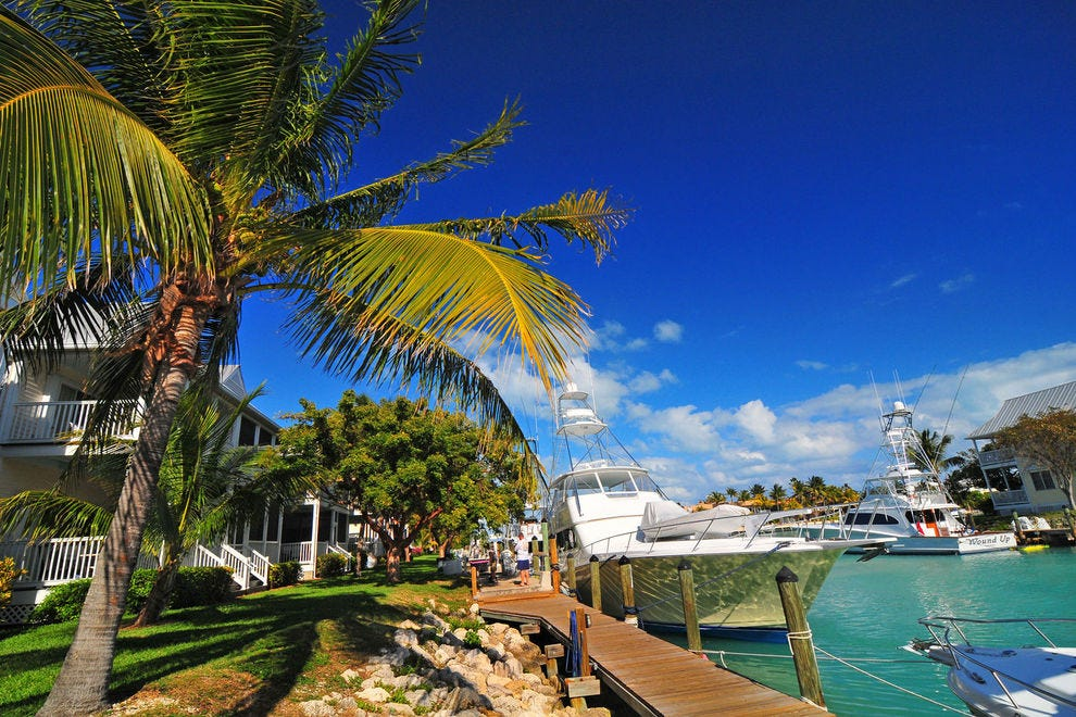 Many Hawks Cay villas come with their own dock in the backyard