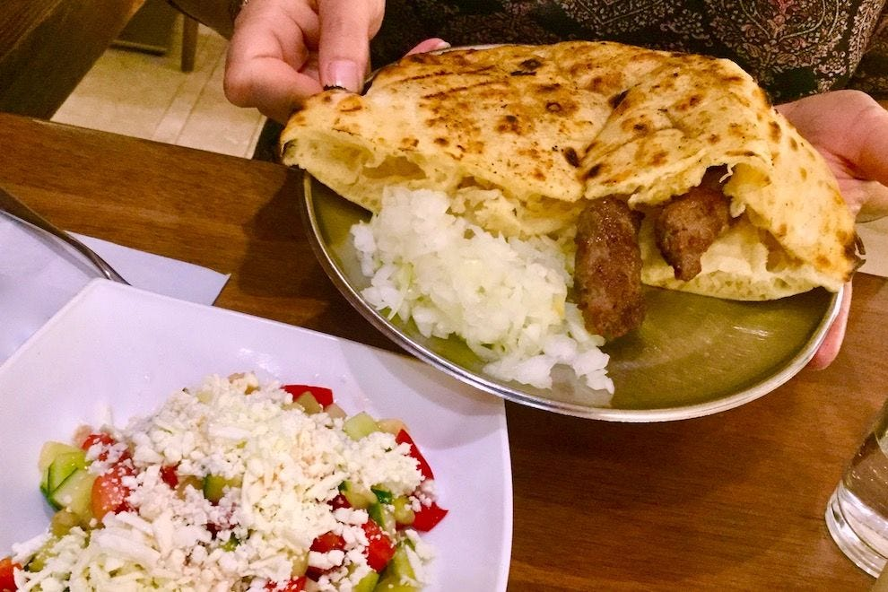 Cevapi and Bosnian salad