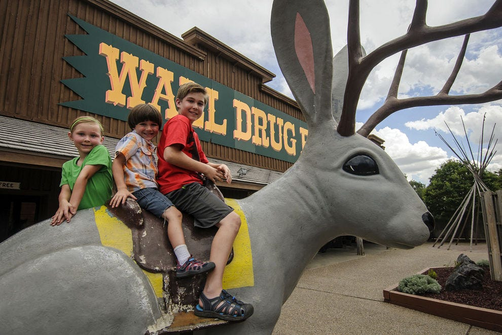 A jackalope in the Wall Drug backyard