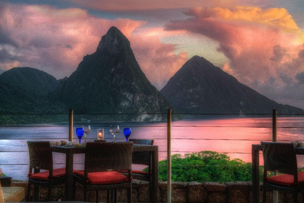 Wine-drinkers can toast the view of the Pitons from Jade Mountain Club
