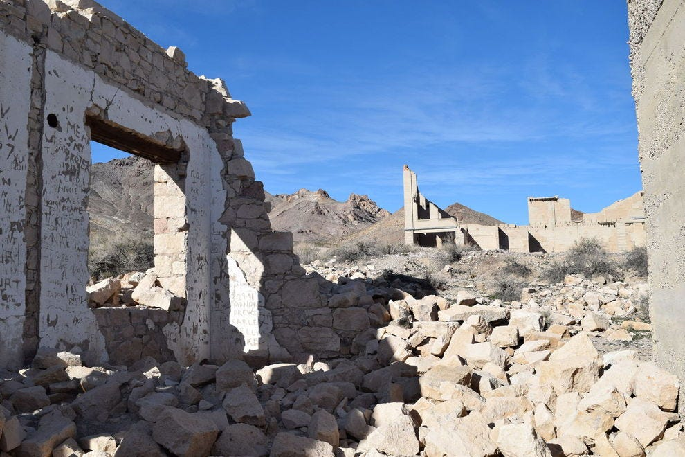 Ruins in the ghost town of Rhyolite, Nevada