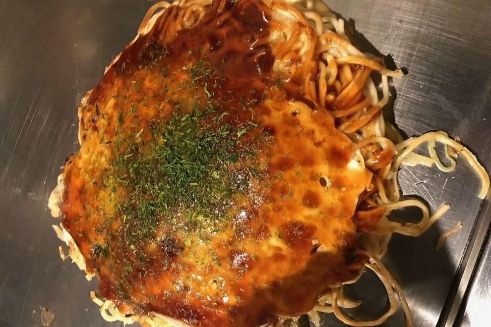 Okonomiyaki is layered, rather than mixed, in Hiroshima