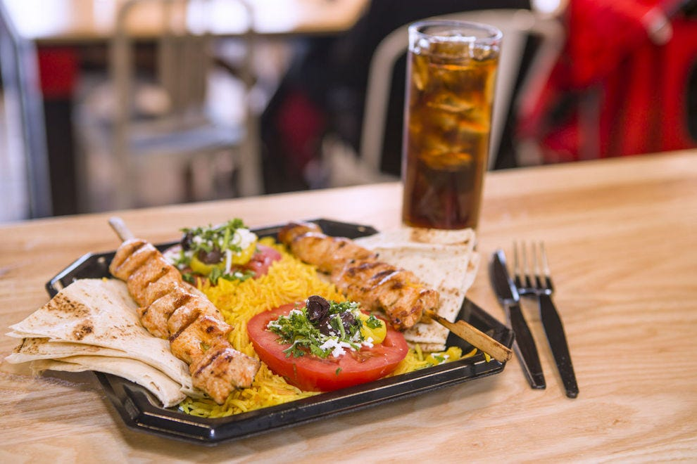 Find yummy eats, like these kebobs, at Holy Land