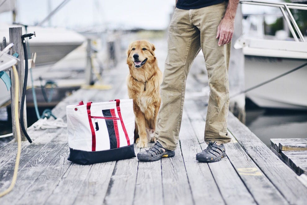 These bags are made from old sails