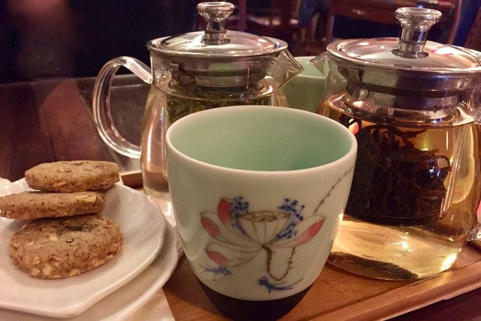 A moment of serenity in the cafe at Seven Cups Fine Chinese Teas