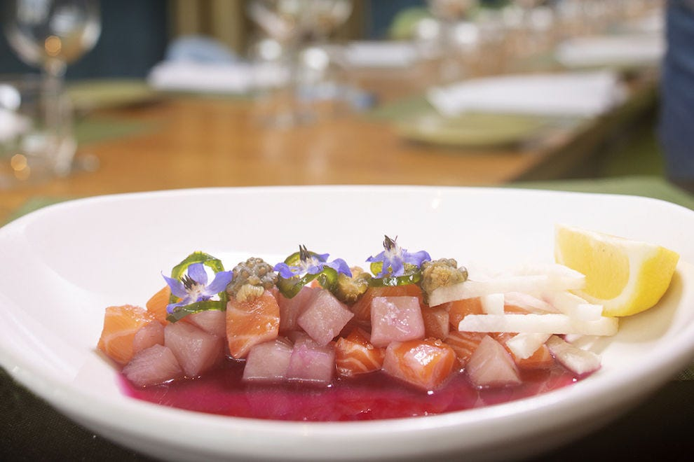 Aquachile with prickly pear broth and pickled cholla cactus buds