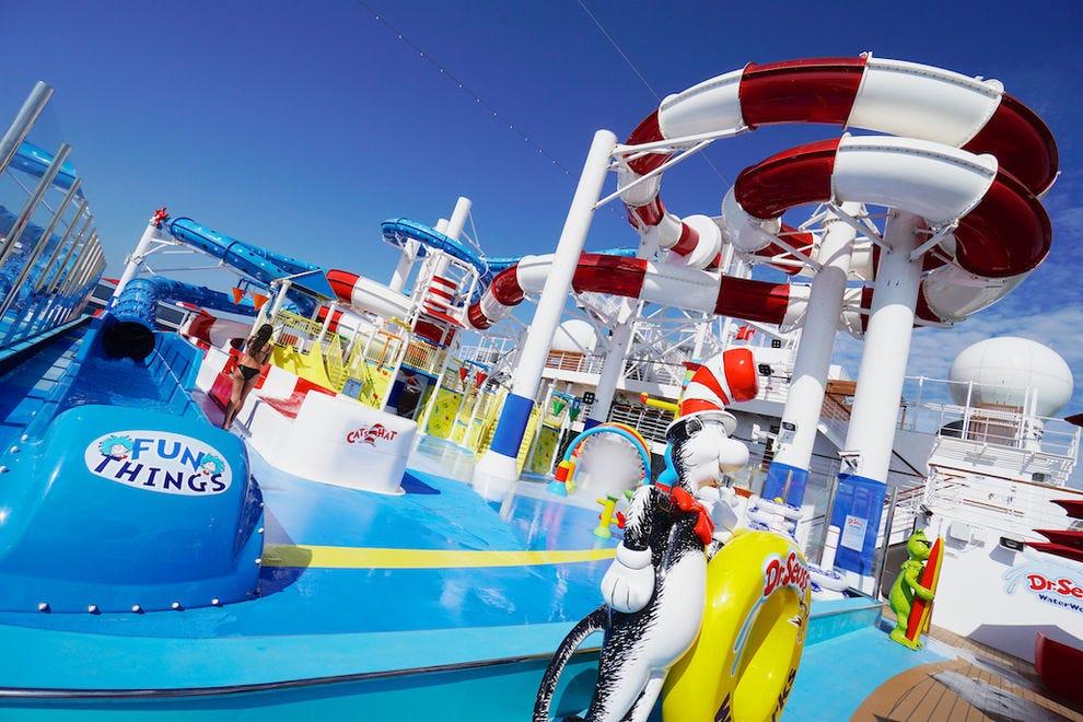 The playful Dr. Seuss WaterWorks water park on <em>Carnival Horizon</em>