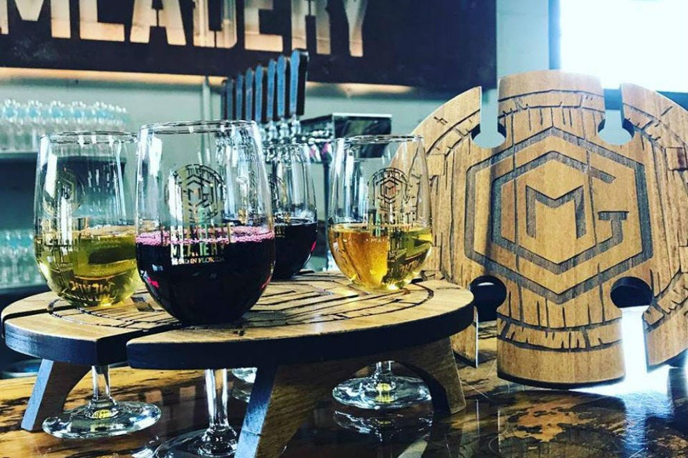 Mead me in the taproom! Sampling, light to heavy, is recommended for finding your favorite styles
