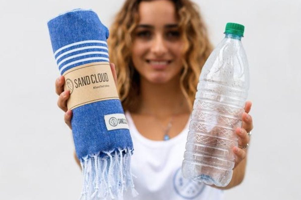 These beach towels are made from recycled materials