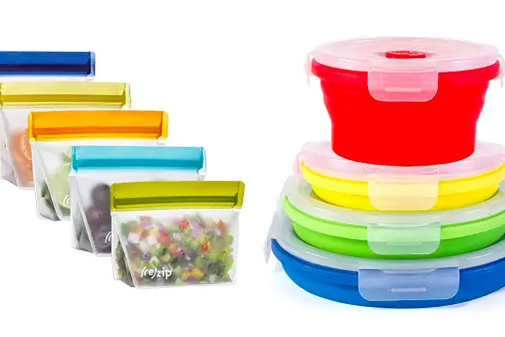 rezip's Lay-Flat Lunch Leakproof Reusable Storage Bags and Thin Bins Collapsible Silicone Food Storage Containers
