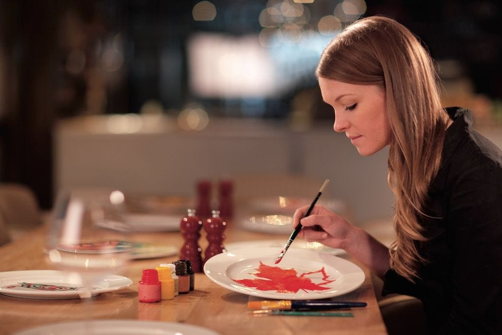 Let the Crazy Plate Lady custom-paint a plate for you at RItz-Carlton Toronto