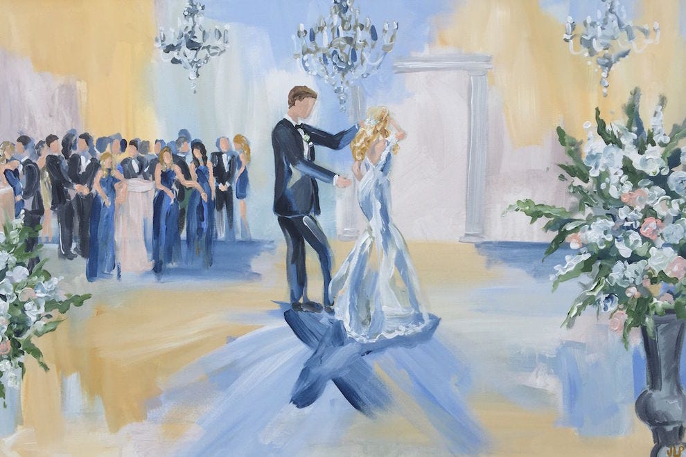 Jennie Lou will paint your wedding live at the ART