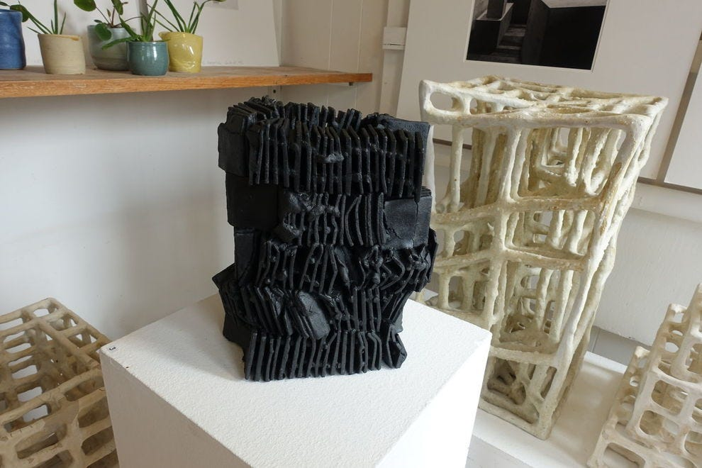 One of numerous abstract ceramic pieces found at Leirlist