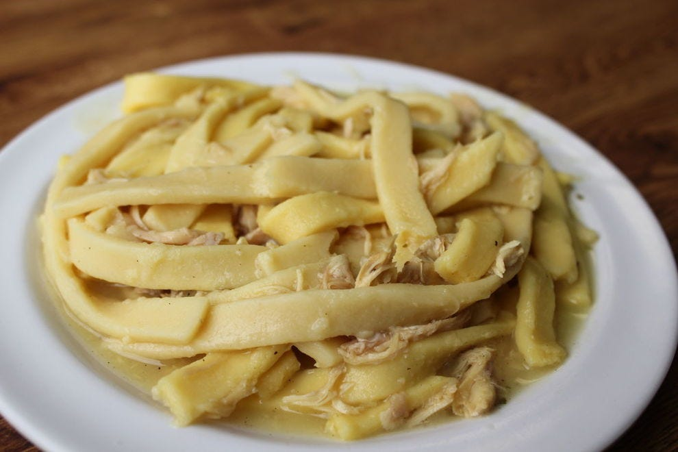 In Indiana, chicken and noodles are always served over mashed potatoes