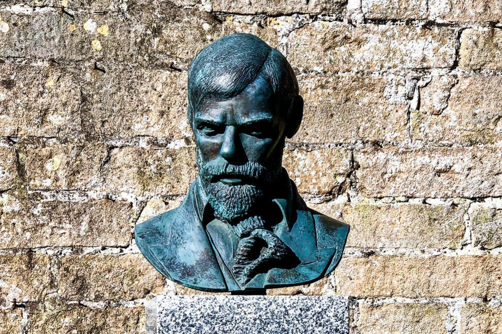 This bust of D. H. Lawrence is among several, including one of Byron, along a garden path at Newstead Abbey.