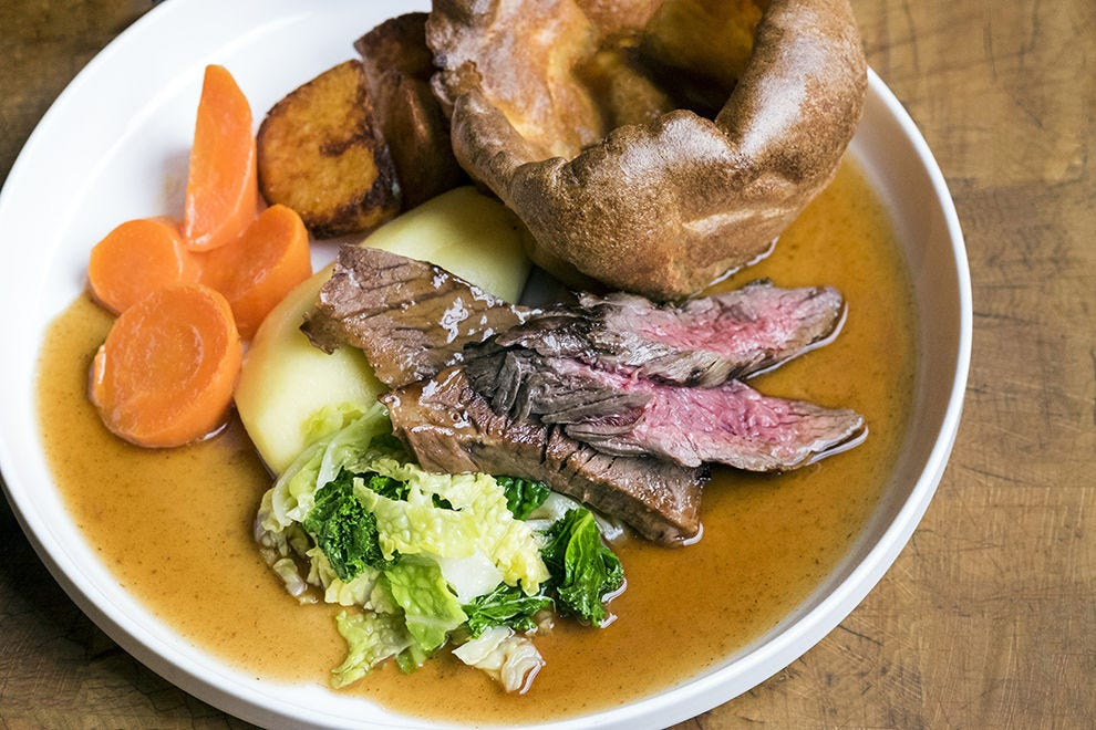 The Sunday roast at Porter & Rye, complete with a massive Yorkshire pudding
