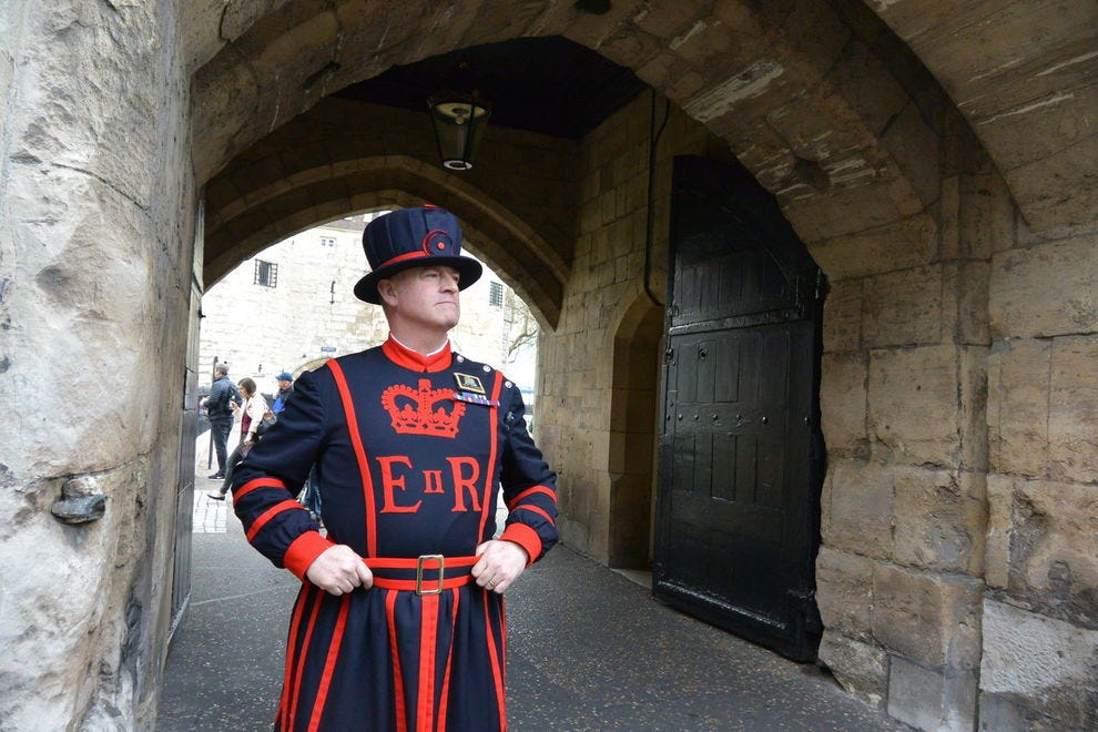 A Yeoman Warder keeps watch at The Tower of London
