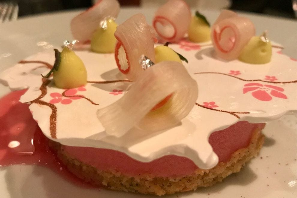 Yorkshire rhubarb desert at e Dame du Pic: shiso cream, cherry leave meringue and rhubarb sorbet infused with damas rose