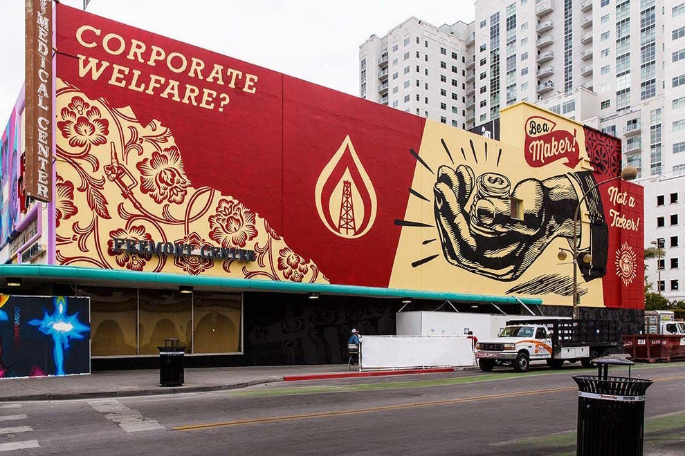 "Shephard Fairey, ""Corporate Welfare""; piece curated for the Life is Beautiful Festival (2016)"