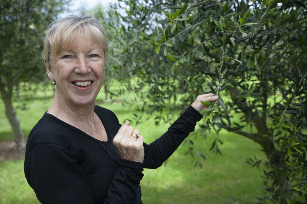 Helen Meehan in the Olivo olive grove