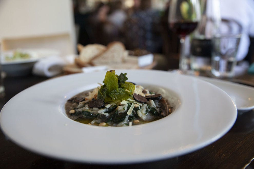 The wild mushroom risotto at Union Square features locally sourced mushrooms and truffles