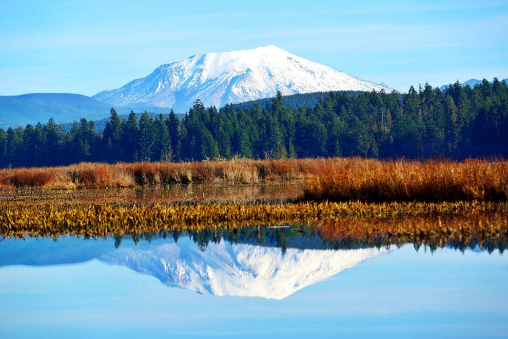 Mount St. Helens reflecting in Silver Lake