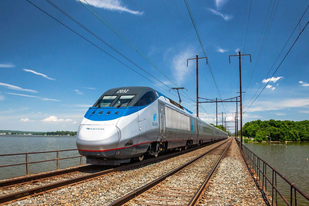 The Amtrak Acela Express travels at speeds of up to 150 mph