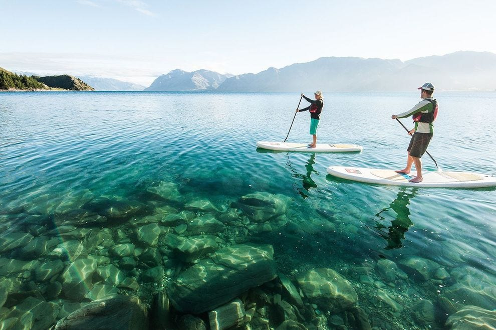 New Zealand's Lake Hawea is crystal clear; some New Zealand lakes are bright turquoise