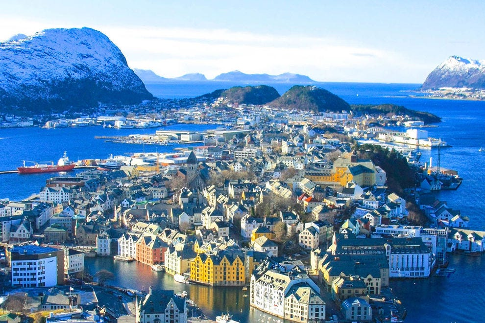 Alesund, Norway and surrounding fjord make a pretty picture